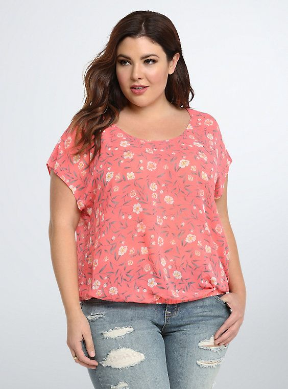 Plus Size Floral Chiffon Bow Back Top, HARMONY FLORAL