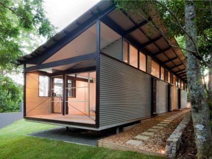 modest steelwork house construction simple landscape design