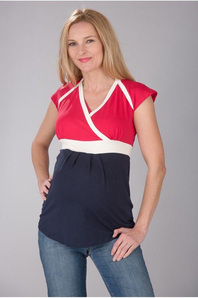 Těhotenská a kojicí halenka KATHY RED