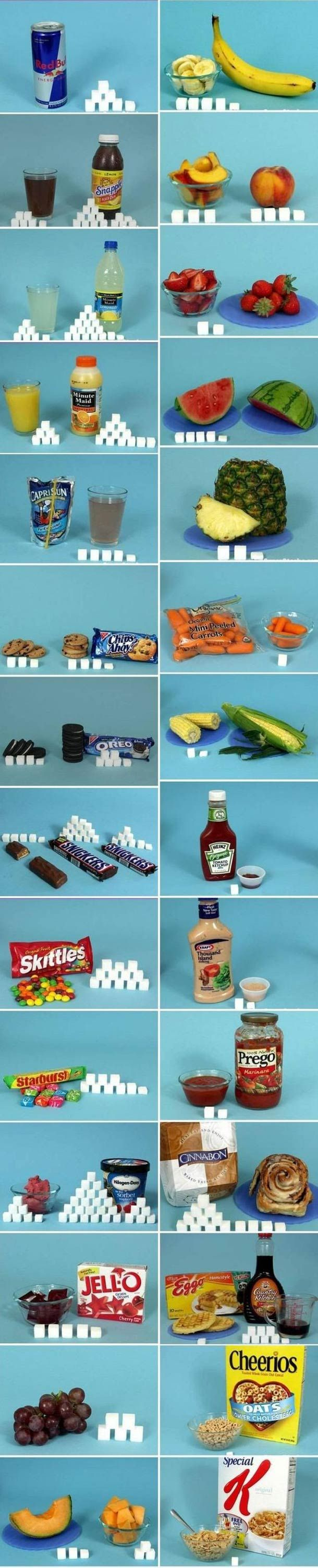 Amount of sugar in foods expressed in sugar cubes. everyone realizes some of these foods contain Natural Sugars while others are full of Added Sugars right? The sugar in fruit is not bad for you, and bc it is paired with fiber it has added health benefits. so keep on eating fruit and no sugar added juices.