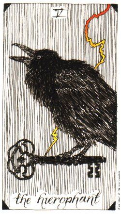 "Crows Ravens:  #Raven ~ The Heirophant from the ""Wild Unknown"" Tarot deck."