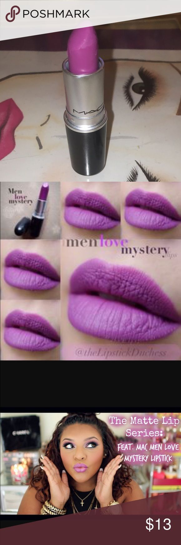 """Mac """"men loves mystery"""" lipstick Mac """"men loves mystery""""matte lipstick 100% authentic. MAC Men Love Mystery Lipstick is described as a """"lavender violet [with a Matte finish]."""" It's a medium-dark, subdued purple with a hint of warmth and a mostly matte finish. It had semi-opaque color payoff with a lightly creamy texture that applies evenly for the most part. This has been swatched  it is a Full container MAC Cosmetics Other"""