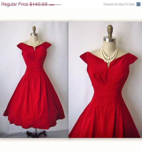 1950's red velvet cocktail dress.