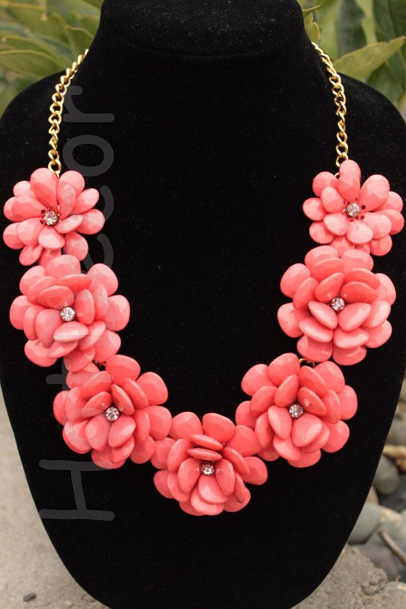 Coral Statement necklace J. Crew Rose Flower Coral by HotDecor, $19.99