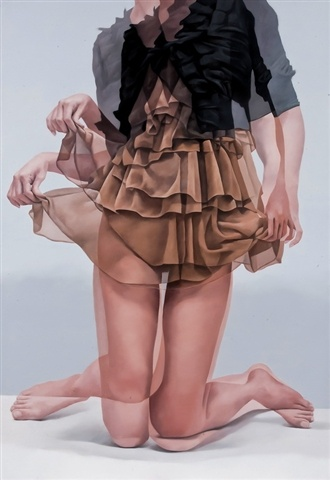 Artist: Horyon Lee {contemporary figurative female torso dress double exposure woman painting}