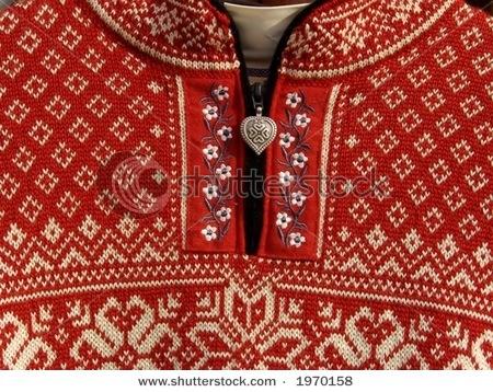 red woolen Norwegian sweater
