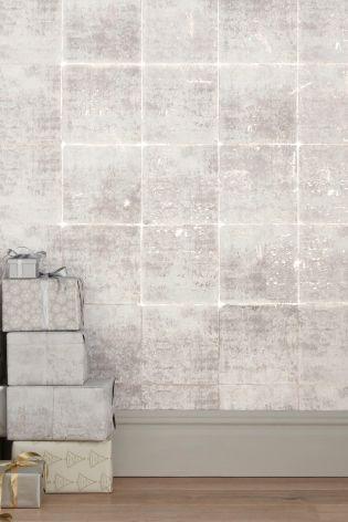 Buy metallic foil tiles wallpaper from the next uk online for Wallpaper next home