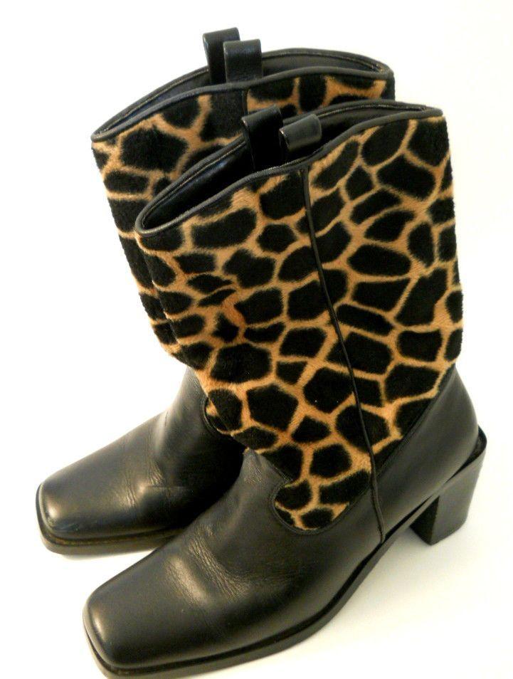 Danelle Boot Black Leather  6.5 M Womens Giraffe Brown Print 3 inch Heel Pull On #Danelle #FashionMidCalf