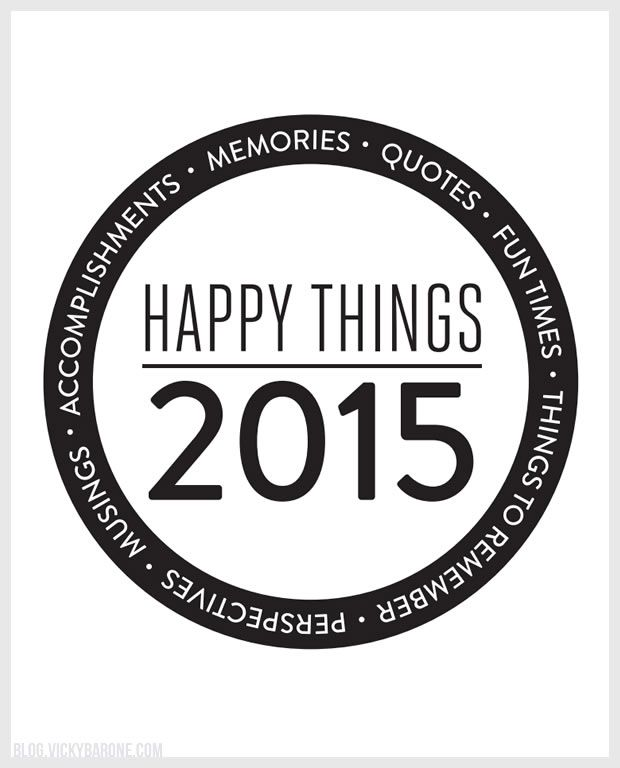 Happy Things Memory Jar Label FREE PRINTABLE! Print, cut out, and tape or glue to a glass jar. Add little notes of happy memories from the year to read next New Year's Eve!