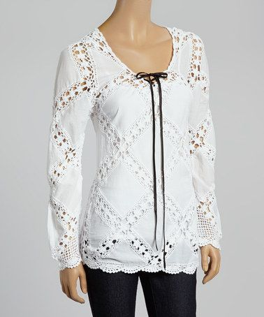 Another great find on #zulily! White Crochet Lace-Up Top by Fashion on the Run #zulilyfinds
