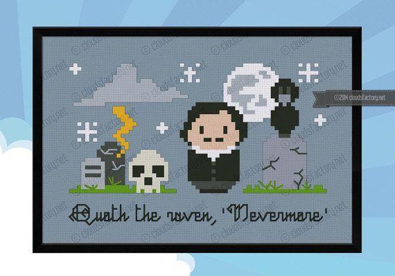 Edgar Allan Poe Nevermore Cross stitch PDF por cloudsfactory