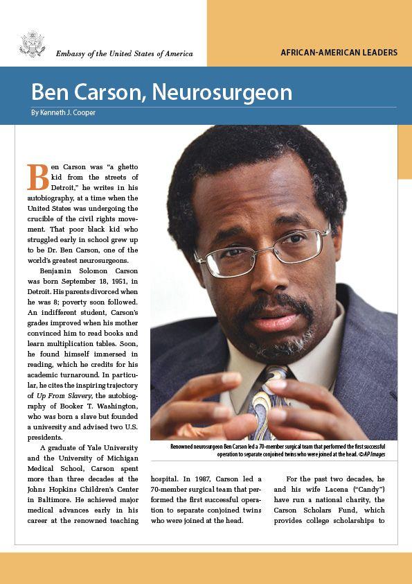 Бен Карсон в очках на обложке буклета