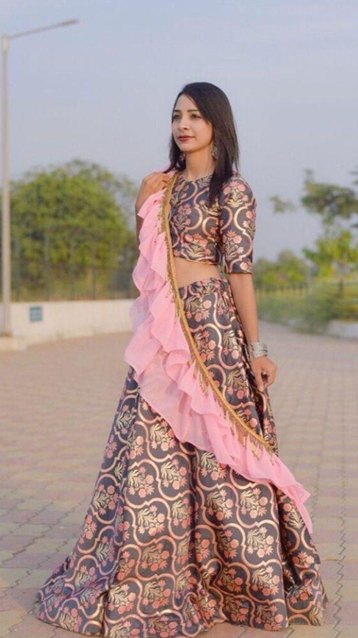 0d4b238ed7 Beautiful Silk printed Lehenga-Choli. Embellished with organza dupatta with  ruffles. Simple and classy. #Lehenga #traditional #khushidesigner #modern
