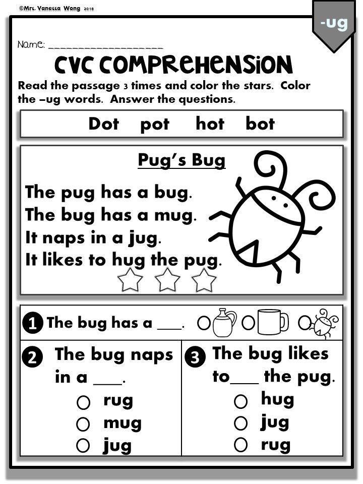 Phonics Worksheets Cvc Comprehension Early Readers Kindergarten