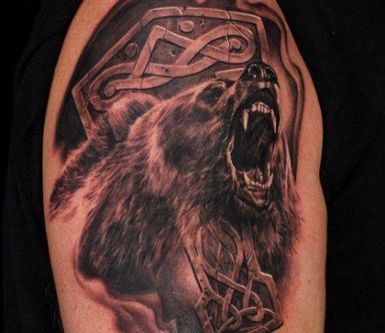 Значение татуировки медведь - смысл, история и фото