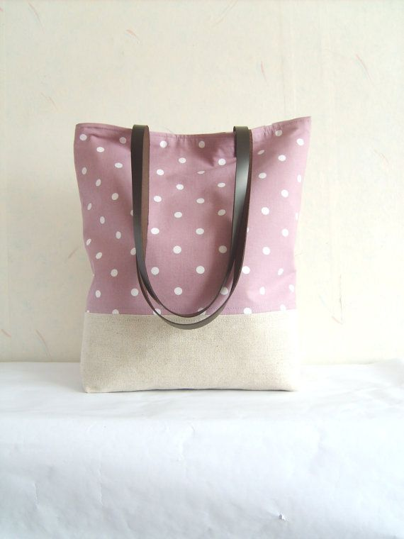 NEW Polka dot tote, polka dot bag, pastel orchid tote bag, linen tote, canvas bag, leather straps, leather handles, violet on Etsy, $38.00