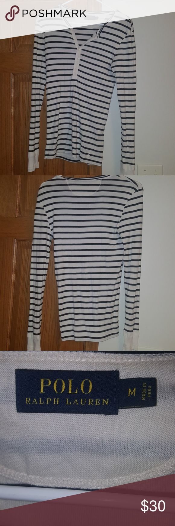 Polo - Ralph Lauren Nautical Striped Long Sleeve. EUC, worn 1x. Comfy Polo - Ralph Lauren Nautical Striped long sleeve shirt.  Button up to mid chest, size medium. Off white and blue stripes. Tops Button Down Shirts