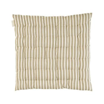 Linum Beige Camargue Stripe Seat Pads: Camargue seat pads in beige and white stripes from Linum. Perfect for dining or garden chairs.