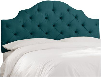 Skyline Furniture California King Tufted Notched Headboard in Shantung Peacock