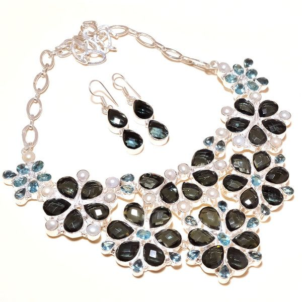 Mother's Day Gifts – Antique Black Topaz Necklace With Match Earrings  – a unique product by IndianCraftPalace on DaWanda