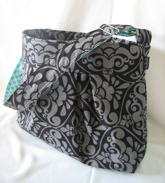 Large Diaper bag - The Emma Large in Gray Damask - or Custom Diaper Bag with Adjustable Strap Elastic Pockets