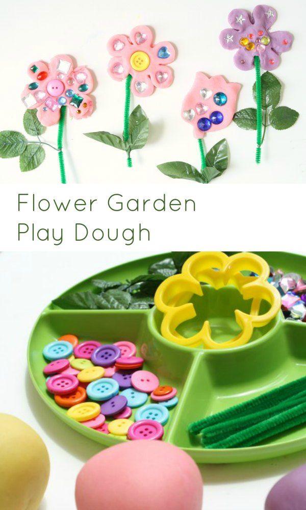 Flower Garden Play Dough Invitation for Kids