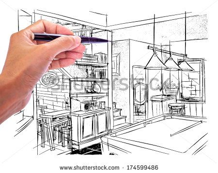 Designer's hand drawing  interior perspective of  Irish Pub on white board