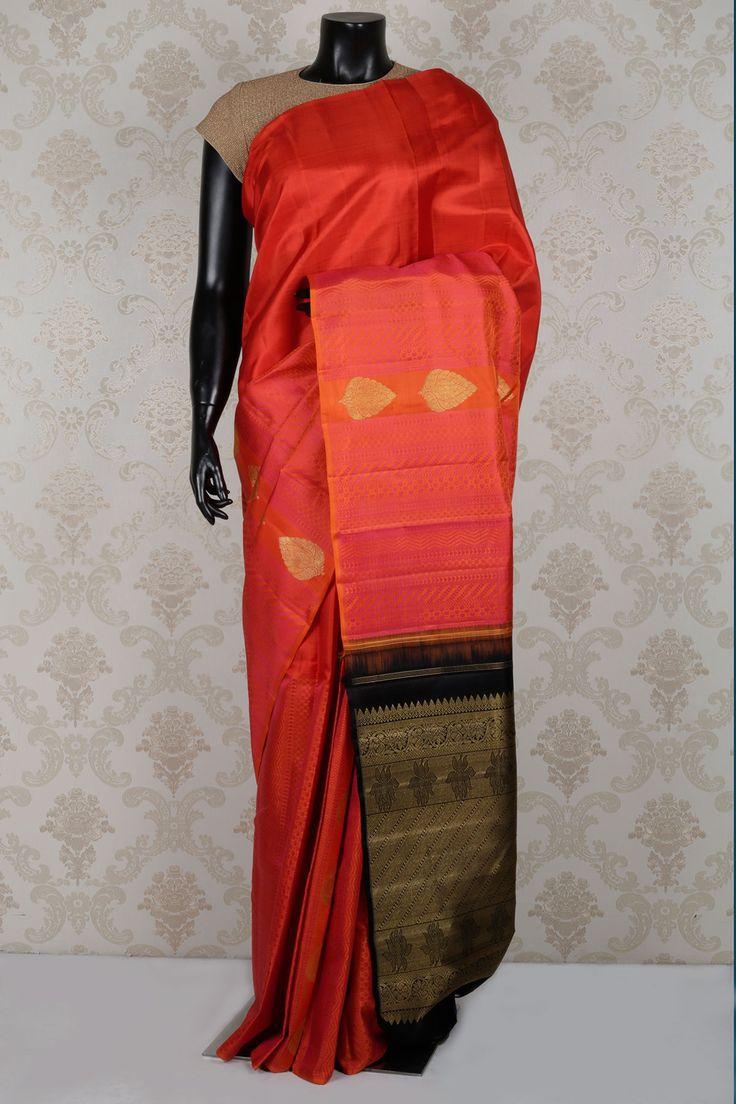 Glamorous #pink and #orange dual tone pure #kanchipuram wilk zari weaved #saree -SR14064