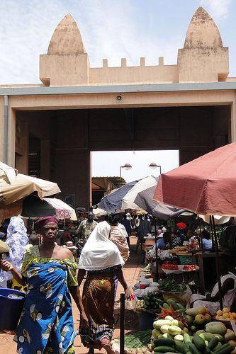 Market Scene - Bobo-Dioulasso - Burkina Faso (this is where most people buy their food... lots of activity and colors!)