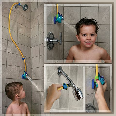 Rinse Ace My Own Shower Children's Showerhead Make the shower fun for your little one with this adorable showerhead featuring a friendly little fish. Its three-foot detachable hose quickly connects and detaches with your adult showerhead for an easy transformation to a kid-friendly shower.$15