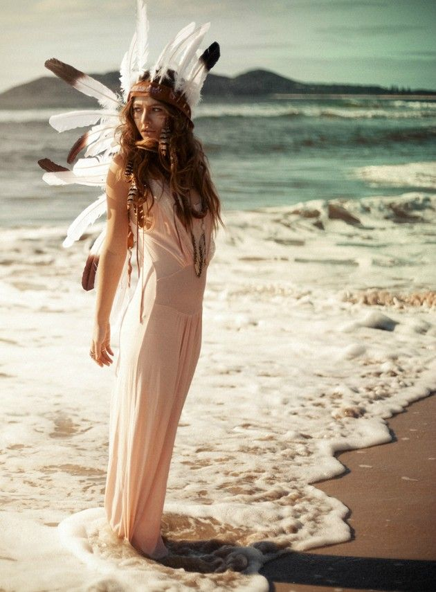 warriorFashion, Gypsy Style, Native Indian, Beautiful, At The Beach, Head Piece, Feathers, Bohemian, Native American