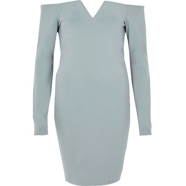 River Island Light blue bardot long sleeve bodycon dress ($52) ❤ liked on Polyvore featuring dresses, blue, bodycon dresses, women, body con dresses, long sleeve dress, light blue long sleeve dress, long sleeve body con dress and light blue mini dress