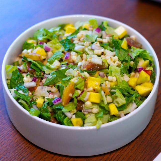 Chop salad: romaine, grilled corn, heirloom tomatoes, red onion, and ...