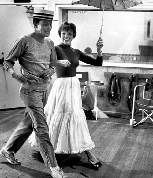 "Julie Andrews and Dick Van Dyke rehearsing for ""Mary Poppins"""