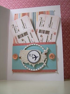 Custom travel surprise for an birthday card. With custom personalized mini boarding passes. Made for a co-worker who is surprising his wife with a trip to San Francisco for her birthday. www.madcapfrenzy.blogspot.com