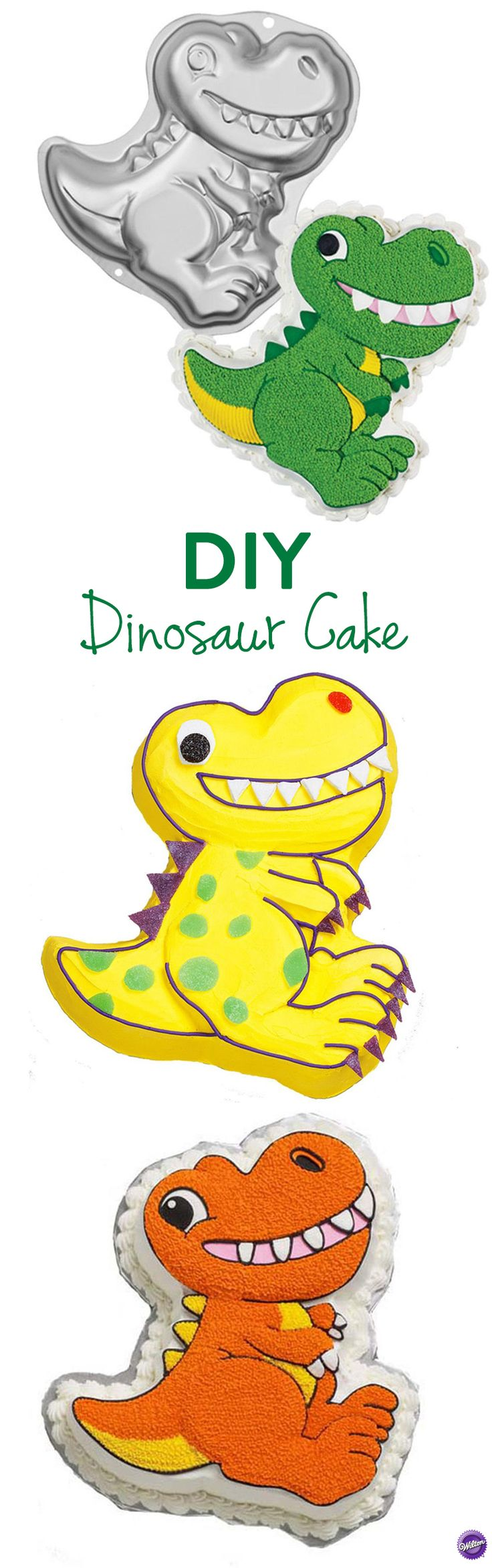 DIY Dinosaur Cake - Using the Wilton dinosaur pan, make your own dinosaur cake that's just right for kids birthdays, school functions and animal-themed celebrations. The one-mix pan is 12.75 x 11 x 2 in. deep.