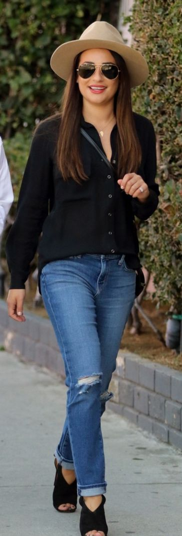 Who made  Lea Michele's aviator sunglasses, black button down shirt, and ripped…