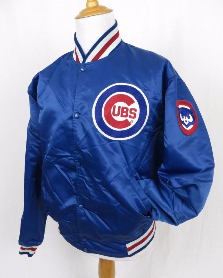 Starter Chicago Cubs Jacket XXL Baseball MLB Satin Vintage Diamond Collection #Starter #ChicagoCubs