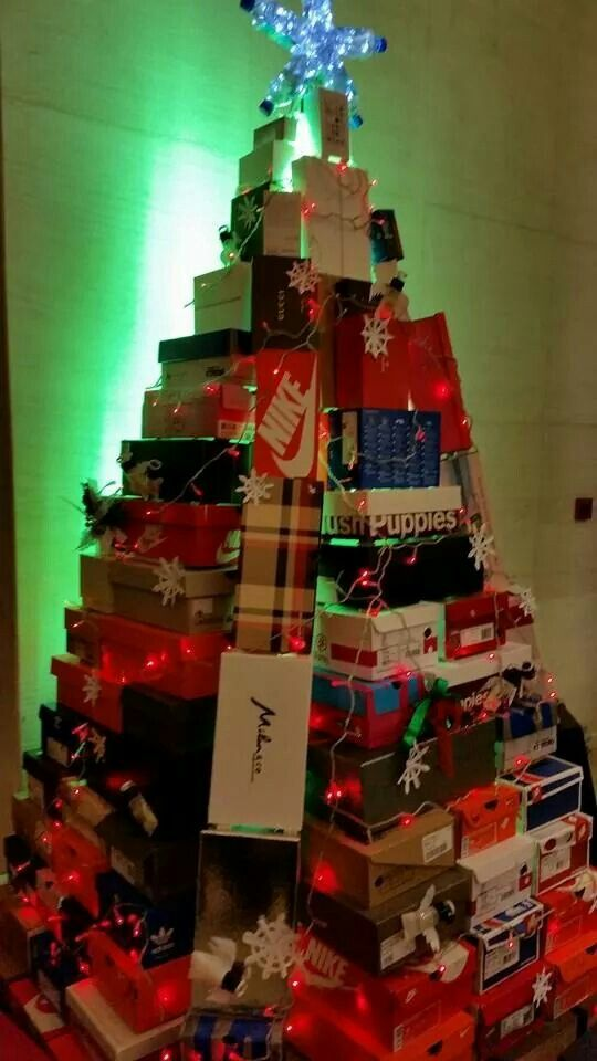 christmas tree made from shoe boxes cute - Christmas Tree Boxes