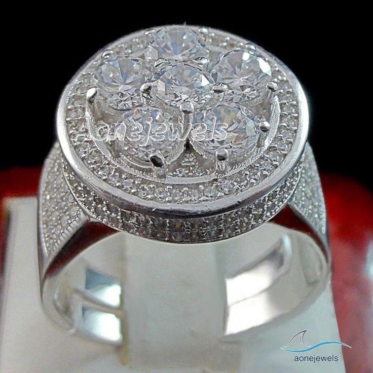 3.20 CARAT MENS 14K WHITE GOLD FINISH PAVE DIAMOND ENGAGEMENT WEDDING PINKY RING #aonejwels #Band #EngagementWedding