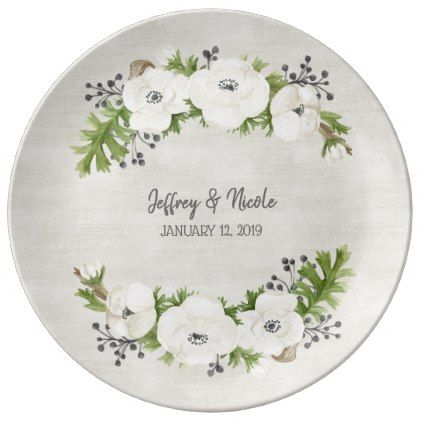 White Anemone Floral Wedding Dinner Porcelain Plate - individual customized designs custom gift ideas diy