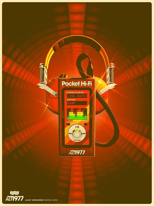Alex Varanese: Graphic Design, Pocket Hi Fi, 70 S, 70S, Poster, Mp3 Player, Alt 1977, Alex O'Loughlin