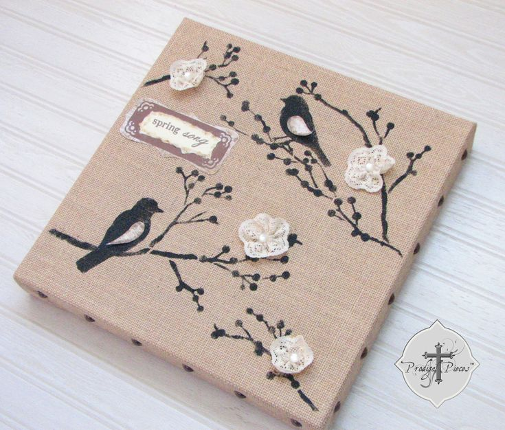 25 b sta burlap canvas id erna p pinterest handarbeten for Burlap crafts
