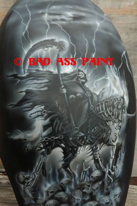 grim reaper on a motorcycle   custom airbrush paint grim reaper motorcycle design