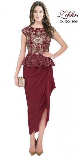 Maroon Georgette Material Indo Western Suit For Bridal Wear