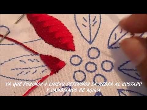 PASO A PASO PUNTADA PARA NOCHE BUENA Y HOJAS #02 - YouTube