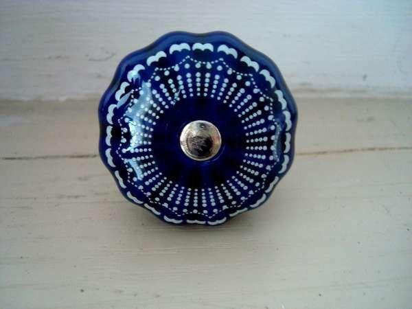 Bouton de porte en porcelaine bleue nuit r tro bouton de - Bouton de porte en porcelaine ...