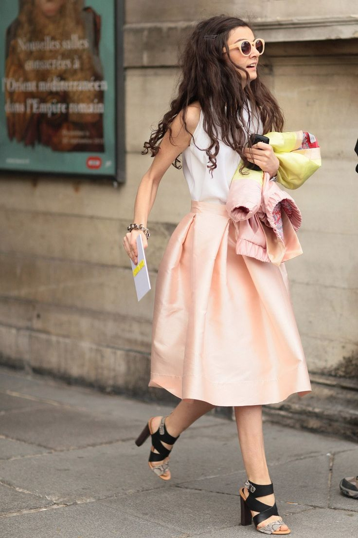 Paris Fashion Week Pink Satin Skirt via Studded Hearts