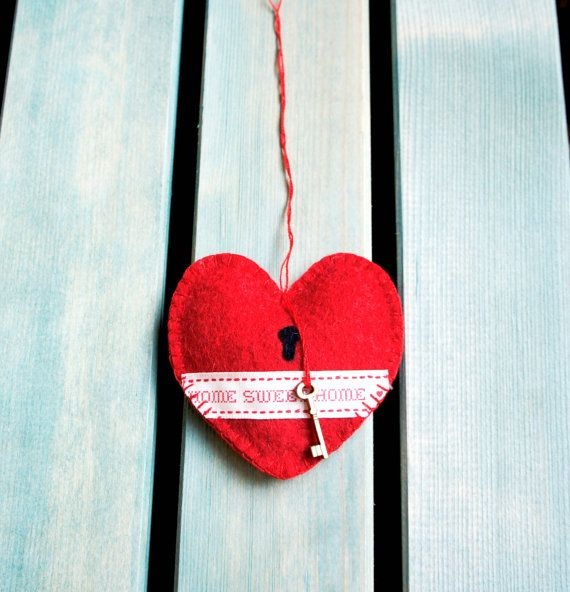 Heart ornament felt handmade red Home sweet by PrettyFeltThings