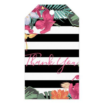 Tropical Floral Flowers Leaves Black White Stripes Gift Tags - birthday gifts party celebration custom gift ideas diy
